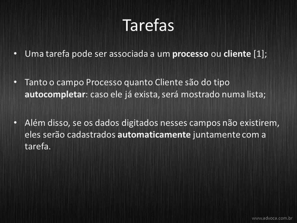 Tarefas Uma tarefa pode ser associada a um processo ou cliente [1];
